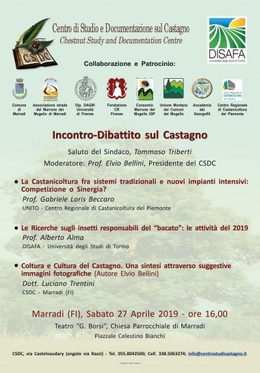 Locandina dell'Incontro-Dibattito sul Castagno 27.04.19